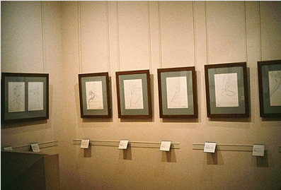 "Gallery 3 of the Bibliotheque-Musee de l'Opera, Palais Garnier, with a selection of Stanley Roseman's drawings from Nureyev's last choreography ""La Bayadere."" Photo by Ronald Davis."