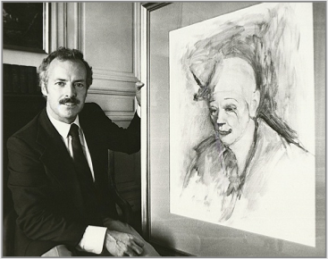 Ronald Davis presenting Stanley Roseman's beautiful portrait of the celebrated Ringling Bros. and Barnum & Bailey Circus clown Frosty Little to the Musee des Beaux-Arts, Bordeaux, 1984. Photo courtesy of the Musee des Beaux-Arts, Bordeaux.