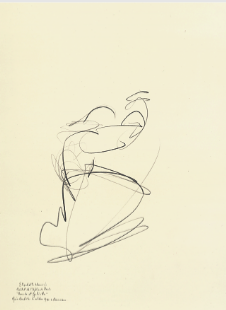 "Drawing by Stanley Roseman of Paris Opera star dancer Elisabeth Maurin, ""Romeo and Juliet,"" 1995, Musee des Beaux-Arts, Bordeaux."
