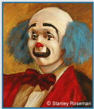 "Painting by Stanley Roseman of the circus clown Keith Crary (detail), © Stanley Roseman, 1973. Featured in ""The New York Times"" review entitled ""Spirit of the Clown"" and subtitled ""Paintings by Stanley Roseman glow with a shiny dignit"