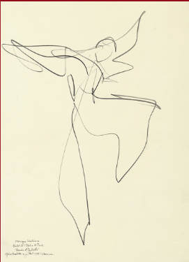 "Drawing by Stanley Roseman of Paris Opera star dancer Monique Loudieres, ""Romeo and Juliet,"" 1995, British Museum, London"