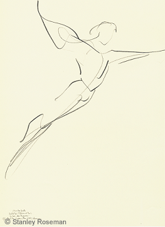 "Drawing by Stanley Roseman of Paris Opera star dancer Charles Jude, ""Swan Lake,"" 1994, pencil on paper, Collection of the artist. © Stanley Roseman"