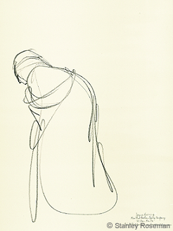 "Drawing by Stanley Roseman of Joyce Herring, ""El Penitente,"" 1991, pencil on paper, Martha Graham Dance Company, Private collection, France. © Stanley Roseman"