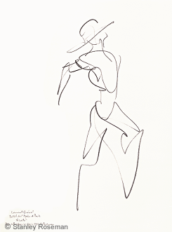 "Drawing by Stanley Roseman of Paris Opera principle dancer Laurent Queval, as a farmer in Mats Ek's version of ""Giselle,"" 1993, Private collection, France."